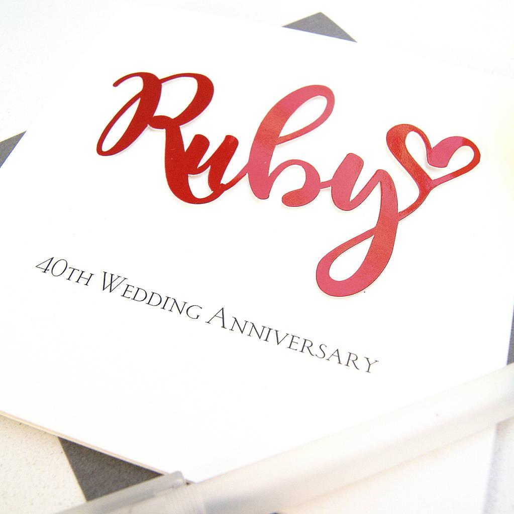 40th ruby wedding anniversary card by the hummingbird card company  notonthehighstreetcom