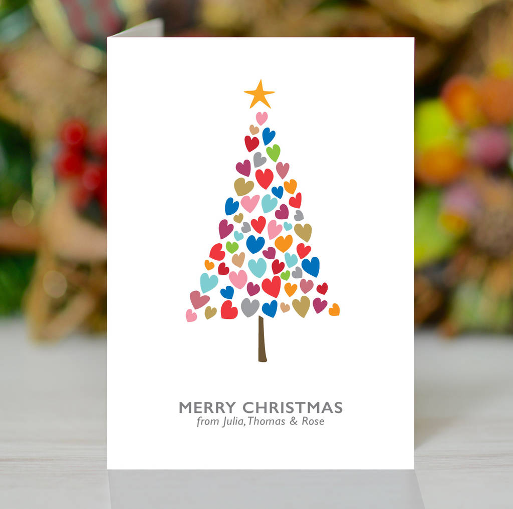 Christmas Tree Of Hearts Personalised Xmas Card Pack By