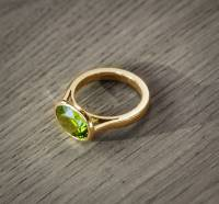 peridot and 9ct eco yellow gold ring by flamingo jewellery ...