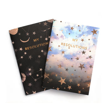 My Resolutions Pocket Notebook Set With Gold Foil