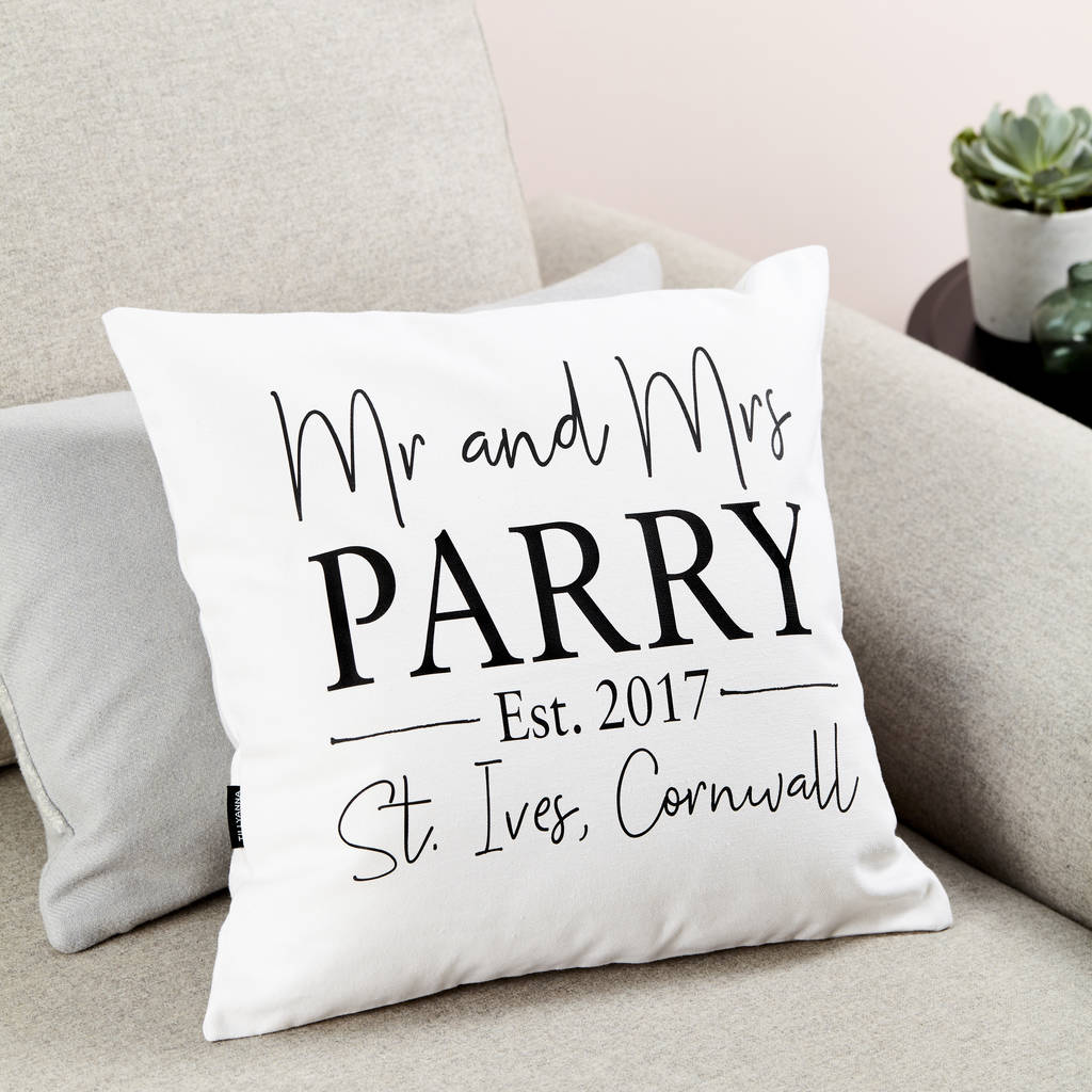 Personalised 'mr And Mrs' Wedding Cushion By Tillyanna
