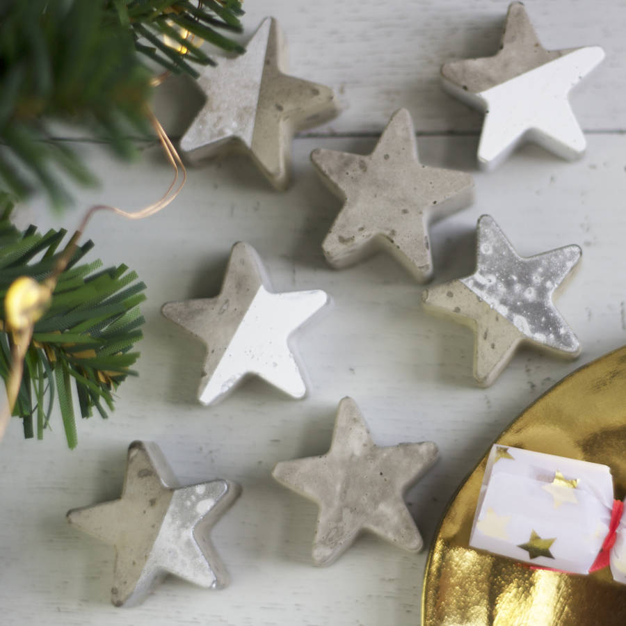 Christmas Star Concrete Table Decorations By Bells And