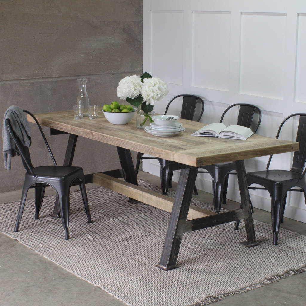 wooden kitchen tables cabinets showroom a game reclaimed wood dining table with steel frame by rust