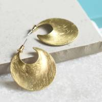 brushed gold crescent hoop earrings by charlie boots