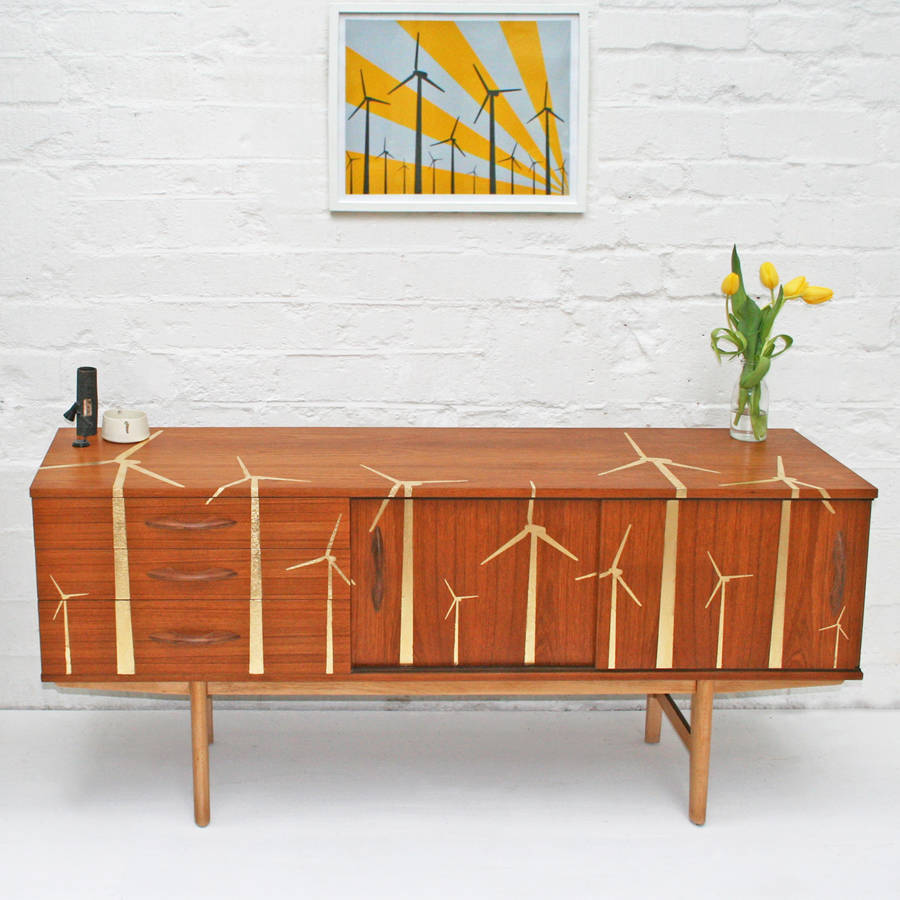 gold leaf 'wind farm' mid century sideboard by scout & boo
