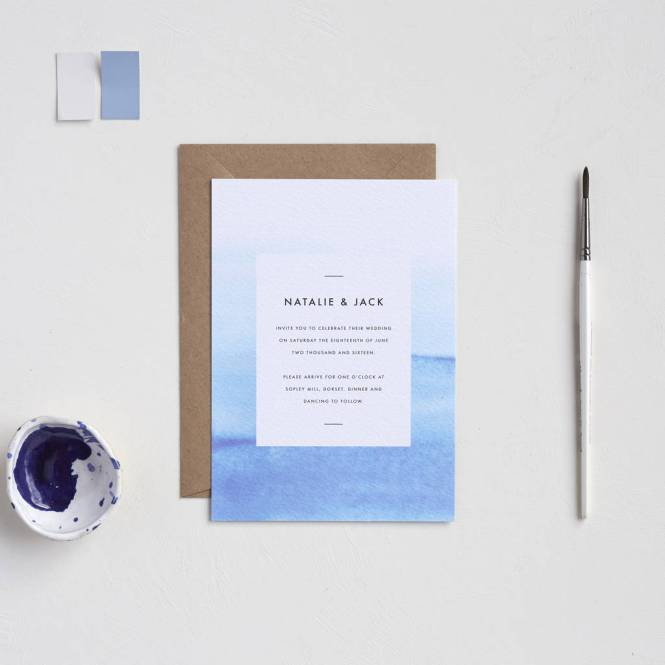 Blue Ombre Wedding Invites