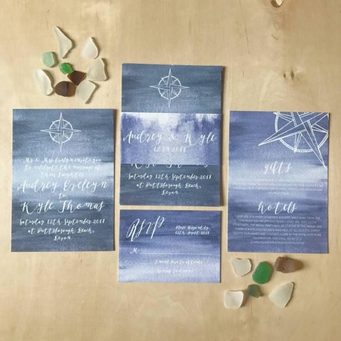 Nautical Watercolour Wash Wedding Invitations