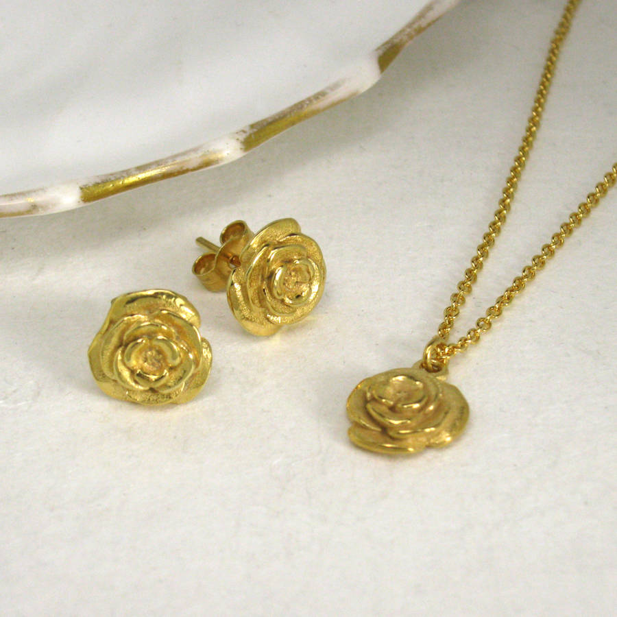 gold rose necklace and earring set by faith tavender