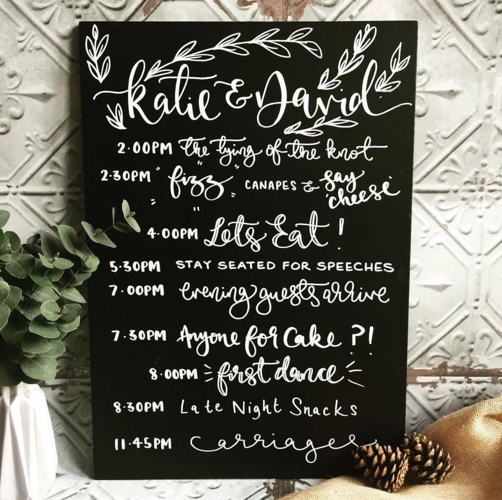 Personalised Order Of The Day Wedding Chalkboard By Mee And Es Designs Notonthehighstreet Com