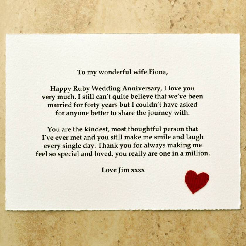 Ruby Wedding Anniversary Gift The Message Is Printed Onto A Beautiful Paper Scroll With Red Embroidered Heart