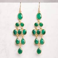 green emerald chandelier gold drop earrings by rochelle ...