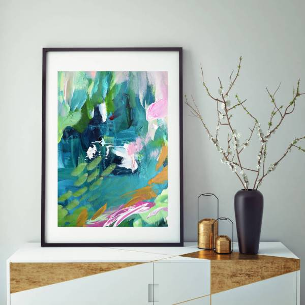 Modern Contemporary Abstract Art Prints Turquoise Decor