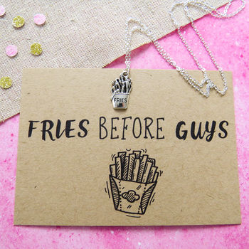 'Fries Before Guys' Necklace cheap gift ideas for teen girls