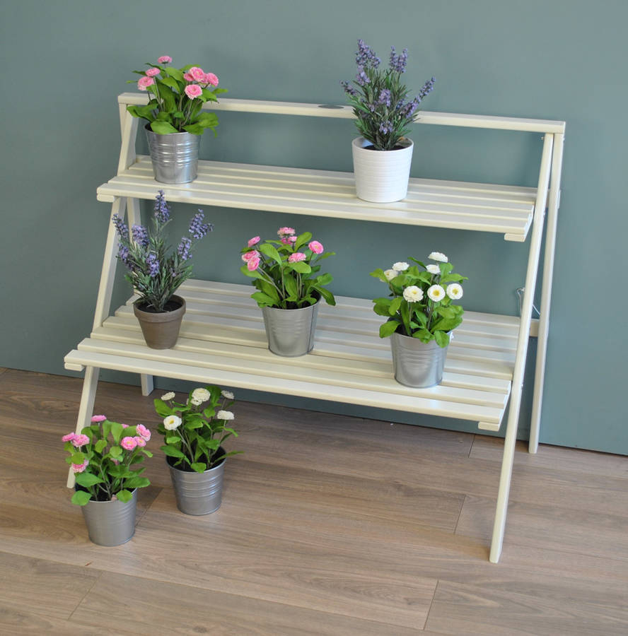 large wooden plant stand in cream by garden selections | notonthehighstreet.com