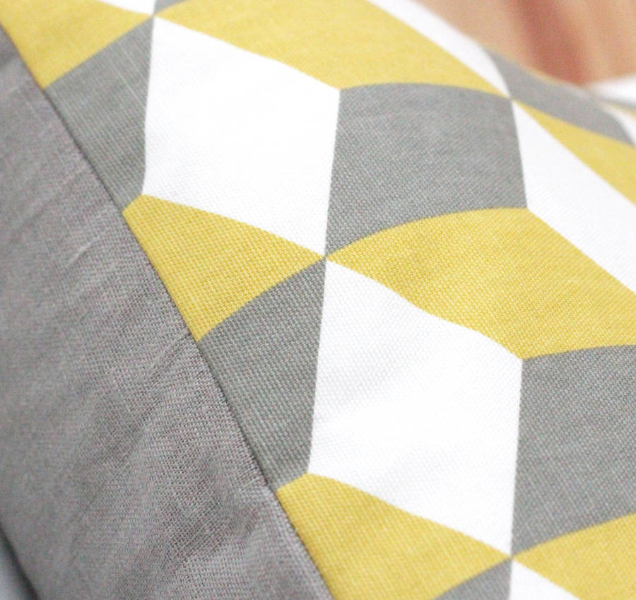 geometric yellow and grey linen cushion cover by quirkybee