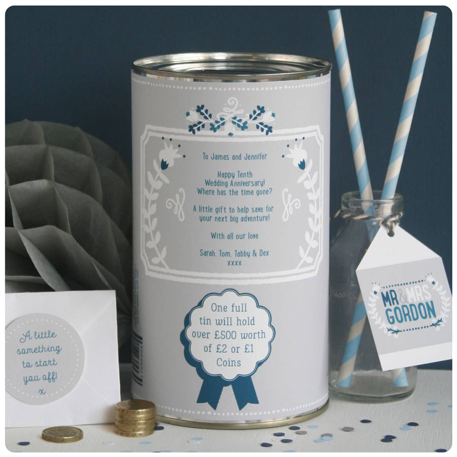 personalised ten year wedding anniversary tin by joanne
