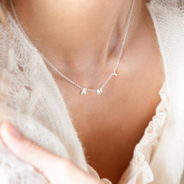 Personalised Silver Little Letters Necklace Not On The High Street