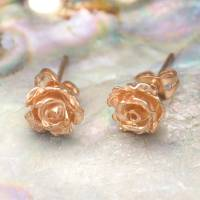 rose gold flower rose petal stud earrings by otis jaxon ...