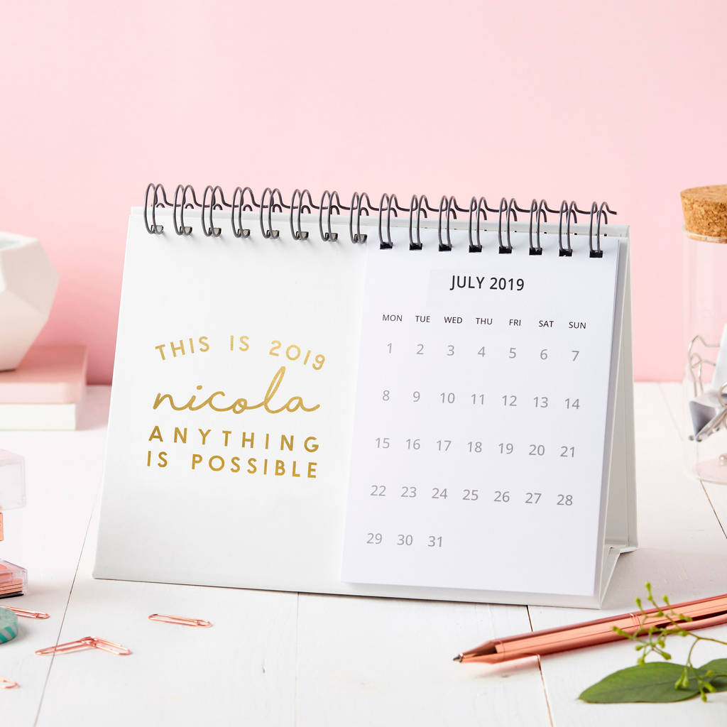 personalised this is 2019 desk calendar by martha brook