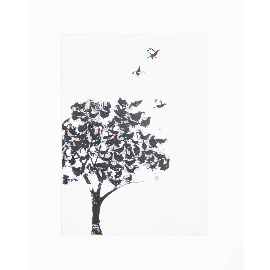tree of grouse screen print by katie edwards illustration