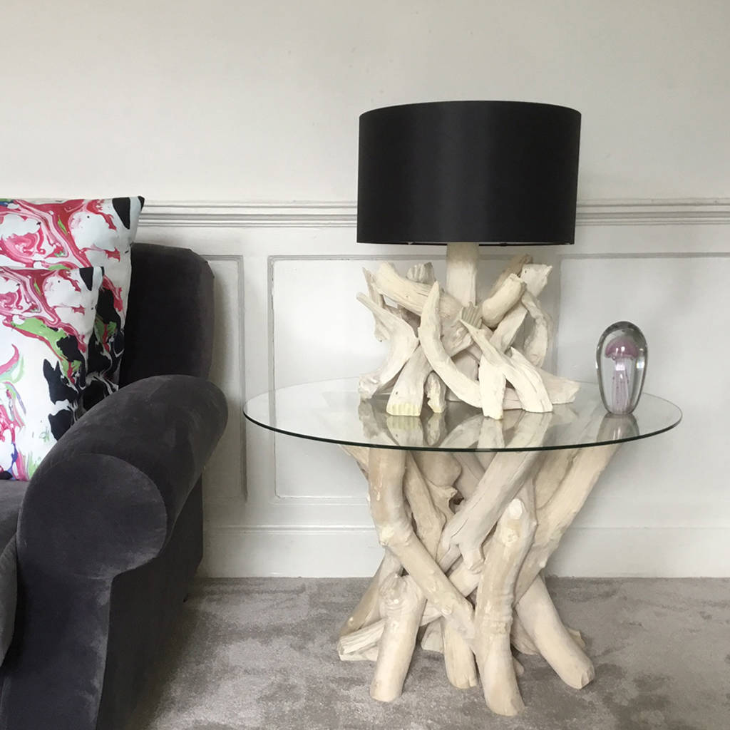 driftwood coffee table with glass top h50cm