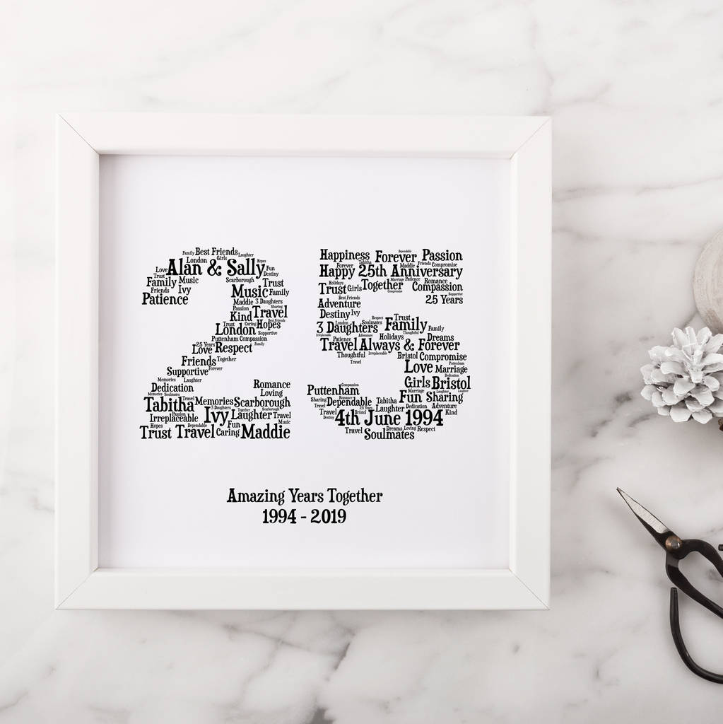 Personalised 25th Silver Anniversary Gift By Hope And Love Notonthehighstreet Com