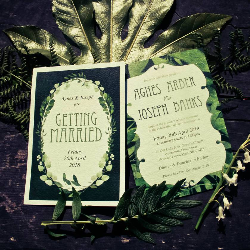 Greenery Leaves Watercolour Wedding Invitations