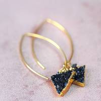 black druzy and diamond earrings by artique boutique