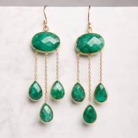emerald gold long teardrop earrings by rochelle shepherd ...