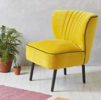 yellow velvet mid century cocktail chair by fern & grey ...