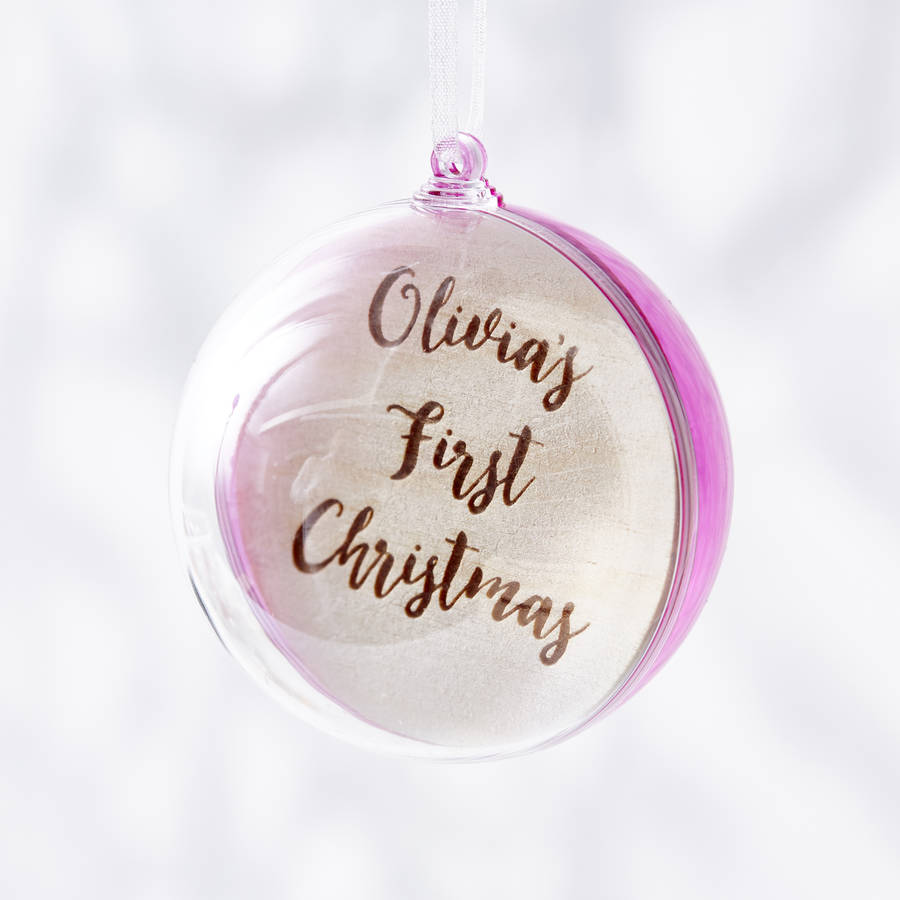 engraved colourful personalised first christmas bauble by sophia