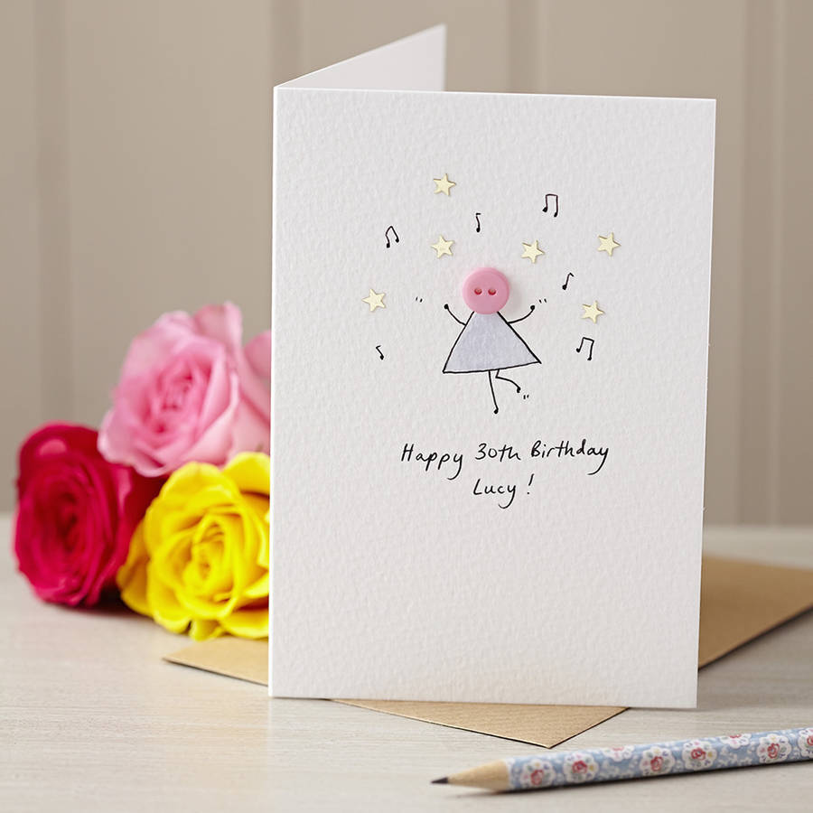 Personalised 'dancing Button' Handmade Birthday Card By