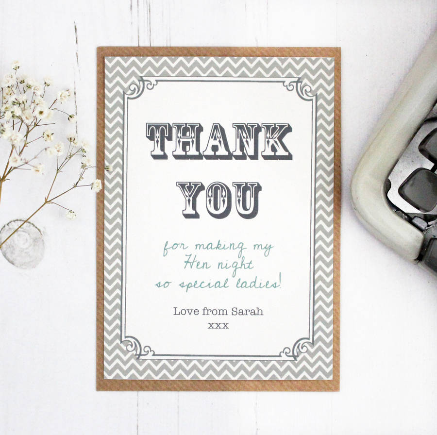 Hen Party And Wedding 'thank You' Card By Precious Little