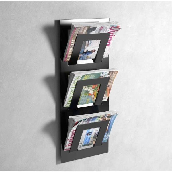 Wall Mounted Three Tier Magazine Rack Metal House Limited
