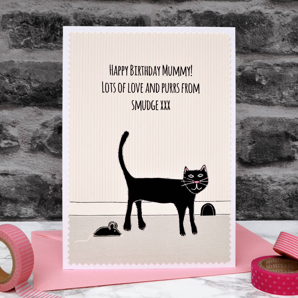Personalised Birthday Card From The Cat By Jenny Arnott