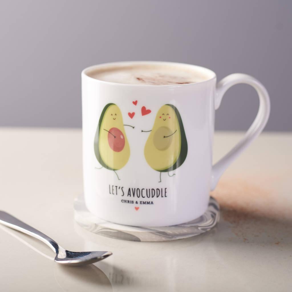 Personalised Couples Avocado Bone China Mug By Oakdene