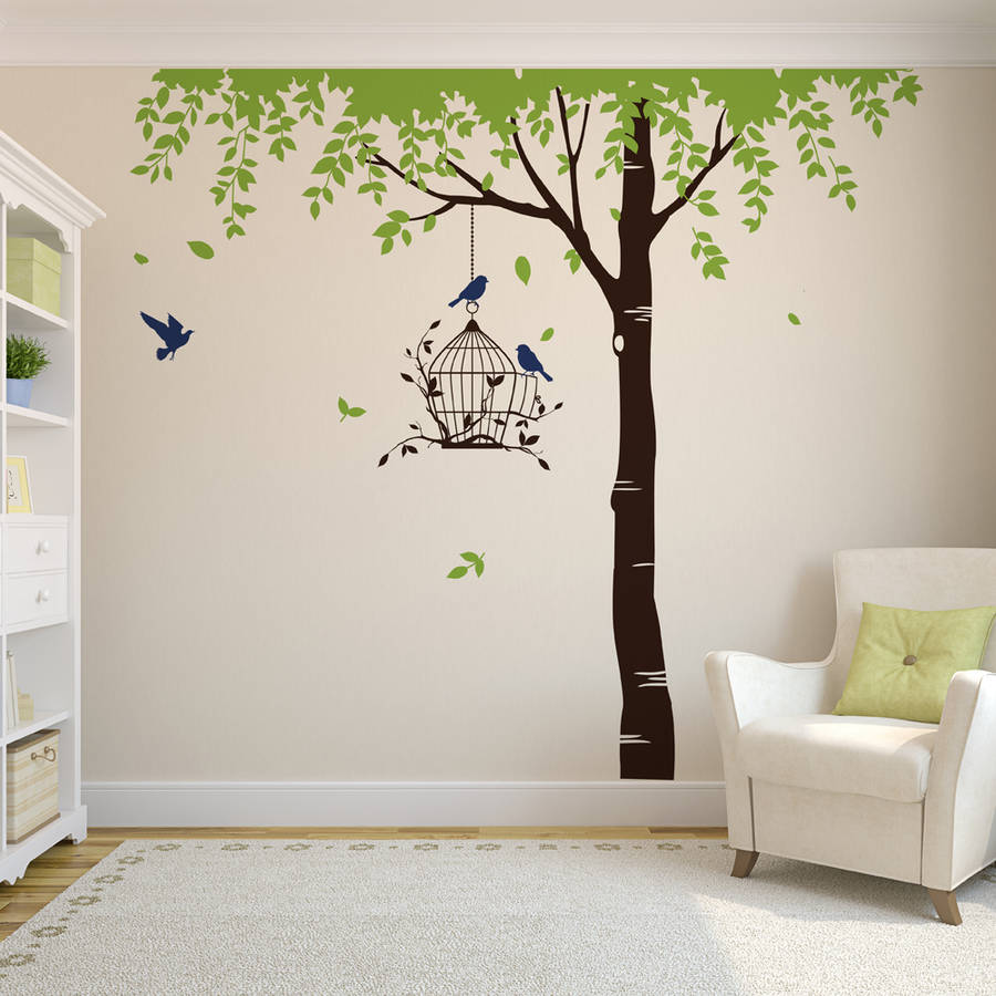 summer tree with bird cage wall stickers by parkins interiors  notonthehighstreetcom