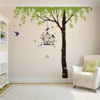 summer tree with bird cage wall stickers by parkins ...