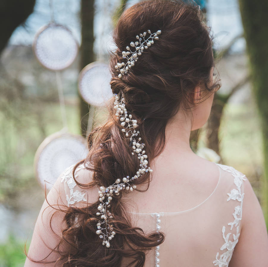 Ulyana Bridal Pearls And Rhinestone Hair Vine By Lhg