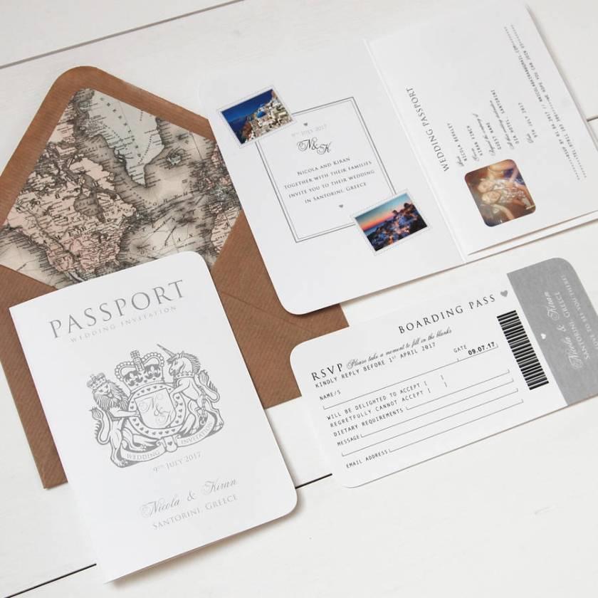 Around The World Pport Wedding Invitation