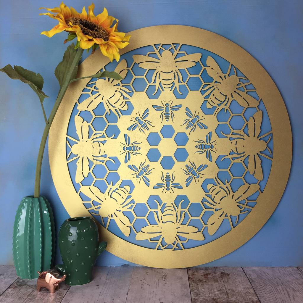 5f6eea38493fd Honey Bee Mandala Print Wall Decoration Wall Art - Inspirational ...