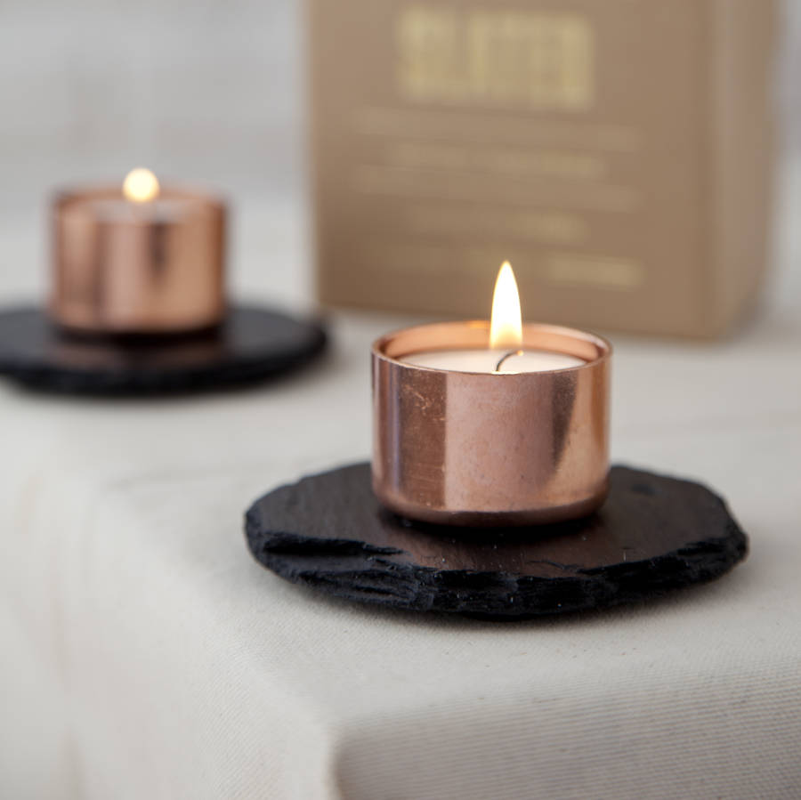 copper and slate candle holder by slated
