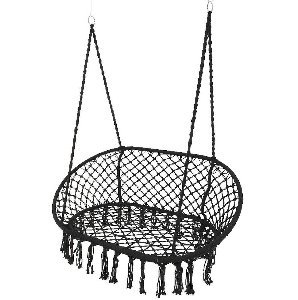 hanging chair notonthehighstreet allsteel acuity review black macrame double garden seat by ella james