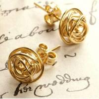 gold nest stud earrings by otis jaxon silver jewellery