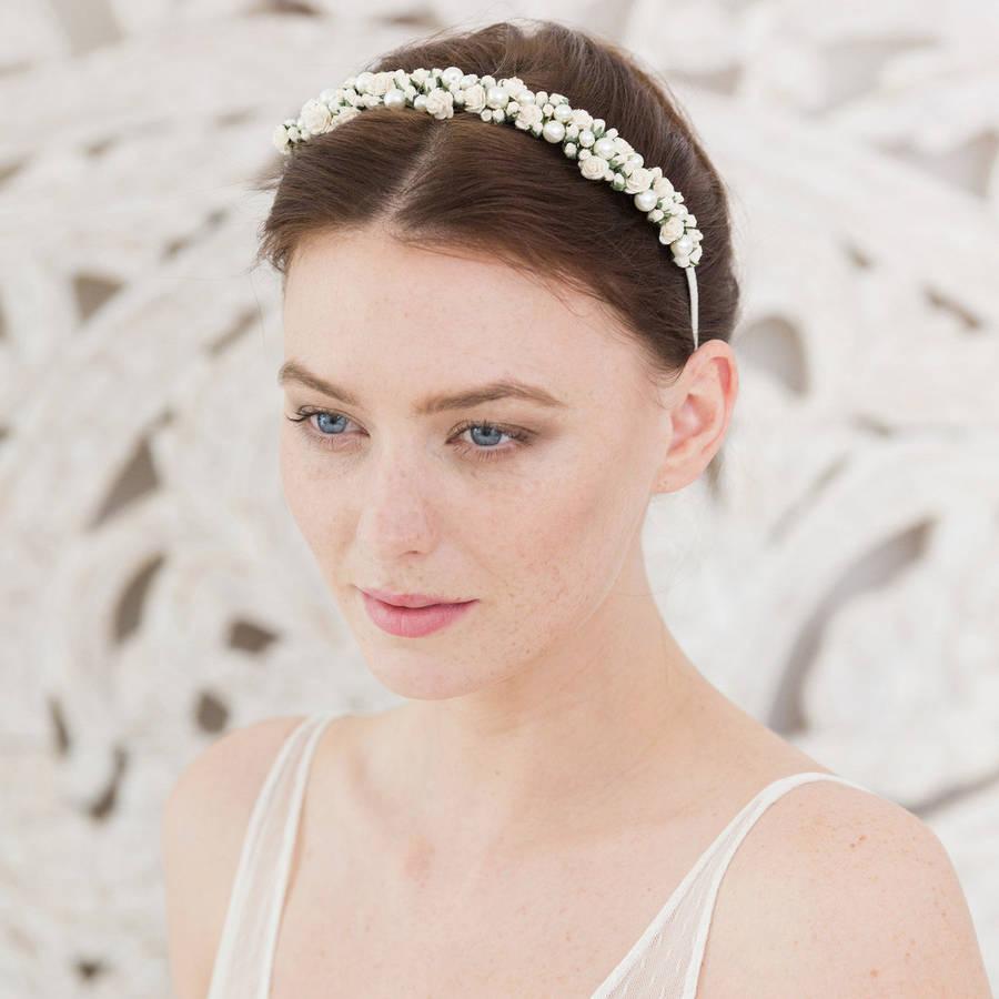 wedding headband rose and pearl