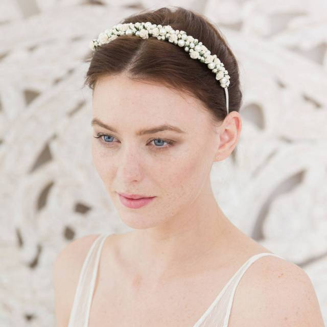 wedding headband rose and pearl