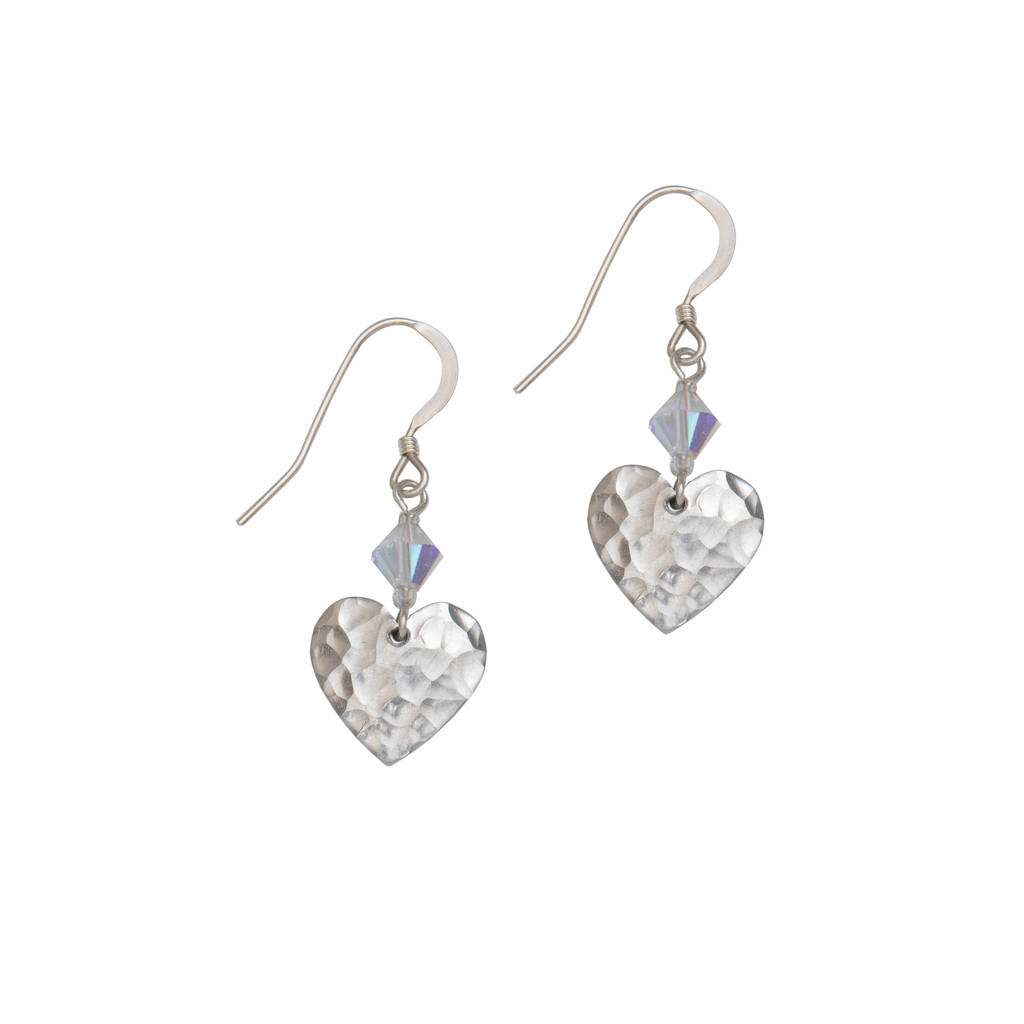 silver small hammered heart earrings and crystal by kate