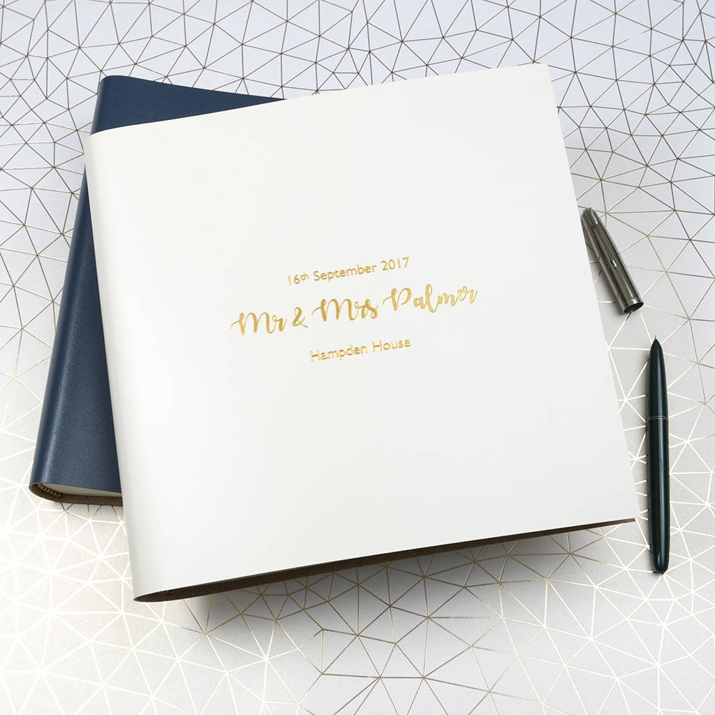 personalised large leather wedding guest book by begolden