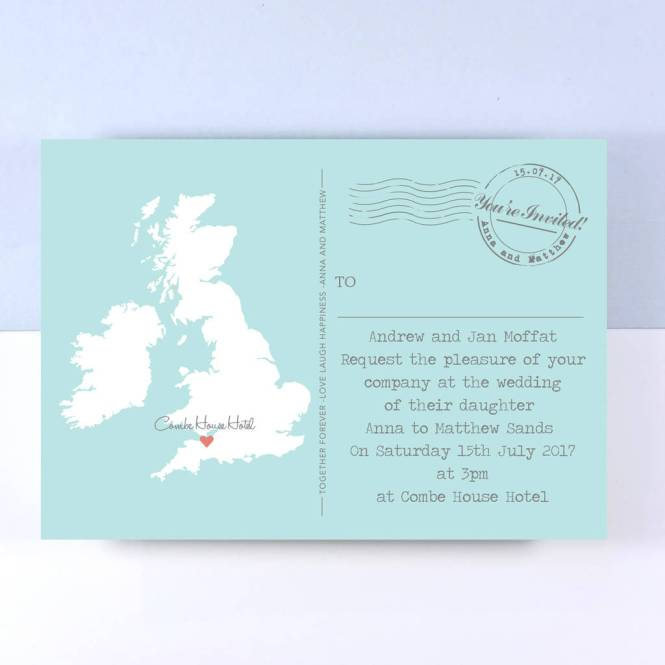 Uk Map Wedding Invitation