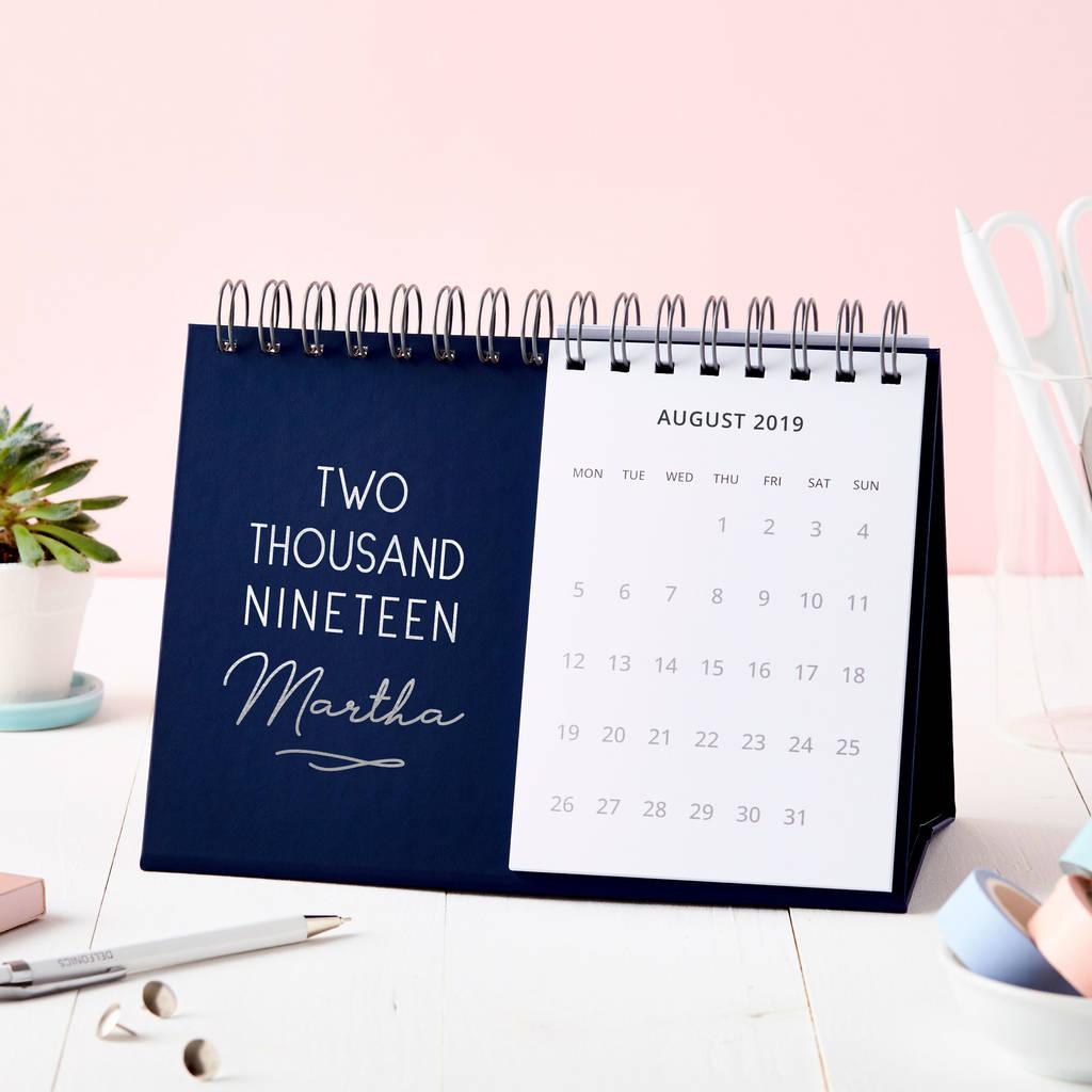 personalised classic 2019 desk calendar by martha brook